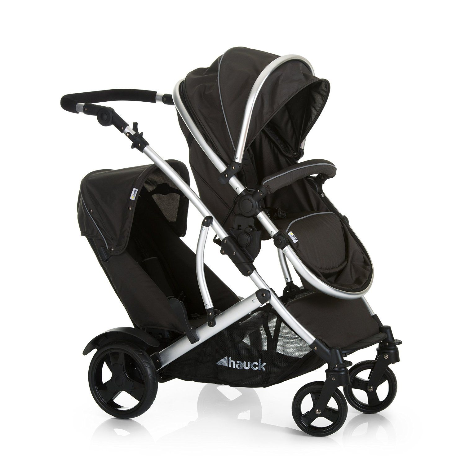 New Hauck Charcoal Black Duett 2 Double Tandem Pushchair